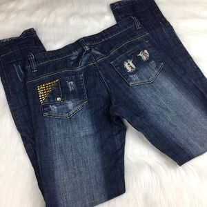 Elite Studded and Distressed Jeans